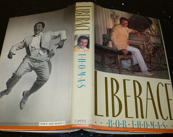 Liberace', First Edition, The True Story, Bob Thomas 1987, Books, Biography, Vintage Books, Old Books, Hollywood, Movie Stars, Entertainment