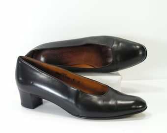 coach pumps womens 6 m b black leather high heels italy vintage