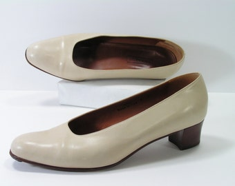 coach pumps womens 8 m b bone leather high heels italy vintage
