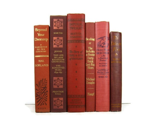Salmon Brick Brown  Decorative Books, Vintage Photo Props, Vintage Wedding Decor