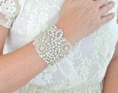 Bridal beaded bracelet, bridal cuff, beaded cuff, crystal cuff bracelet, rhinestone cuff bracelet, crystal bridal cuff - GENEVA