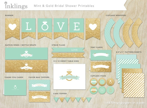 Bridal Shower Decorations Printable Mint Green Amp Gold