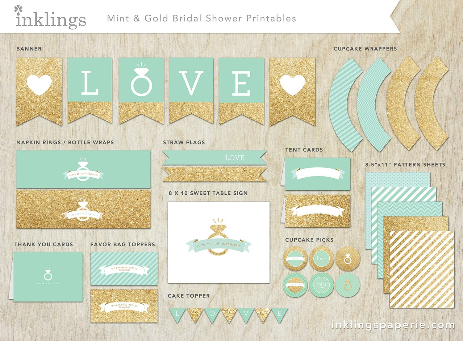 Mint Green And Gold Wedding Invitations: Bridal Shower Decorations // Printable // Mint Green & Gold