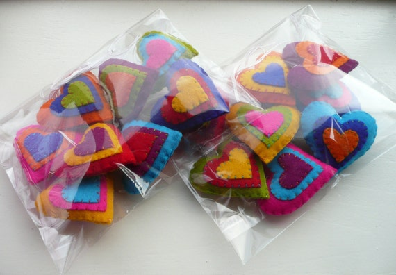 Reserved listing - Wool felt Valentine heart ornaments (2 sets of 8)