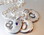Stamped Silver Inital Round Pendant Necklace Typewriter Font,New Moms, Recycled Silver, ADD ON, Personalized