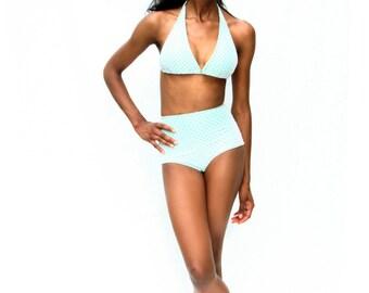 A r i e l High Waisted Bikini with Sheer Polka Dot Overlay