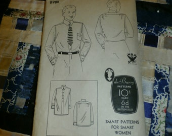 "1930s Du Barry Pattern 898B Boy's Shirt Pattern Size 6, Breast 24"", Waist 24"""