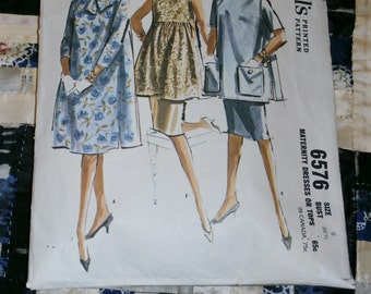 1962 McCalls Pattern 6576, Misses Maternity Dress or Top Size 9, Bust 30 1/2, Waist 23 1/2, Hip 32 1/2