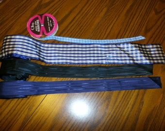 Lot of 4 Vintage Ribbons, Checks, Moire', Wide, Blue, Old New Stock, 20 Yards