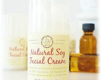 Natural Soy Facial Moisturizer Cream - 21 natural ingredients, vegan, soy, skincare, face lotion, face cream, argan oil