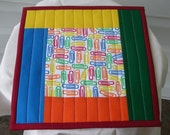 QUILTED MugRug in PRIMARY COLORS with Paperclip Design. Approx 10 1/4 inch square.