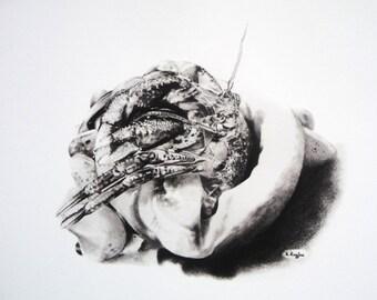 Sale ! Print of hermit crab, giclee, wildlife art, wildlife print, crab print