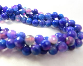 6mm Royal Blue and Hot Violet Pink Faceted Agate Round Semiprecious Beads