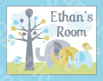 """Personalized with any Name or Text! """"Elephant Love Trunks"""" 8x10 inch Nursery Art Print -So Adorable!"""