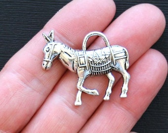 SALE 5 Donkey Charms Antique  Silver Tone - SC2531
