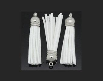 6 White Tassels Ideal for Cell Purses and Pendants Longer Length LLS-WHITE