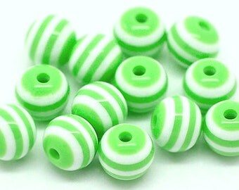 50 Striped 8mm Beads Fun and Colorful Resin - BD333