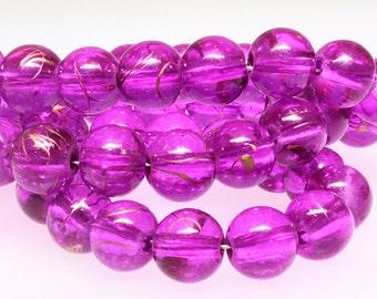 20 Deep Magenta Glass Beads 8mm - BD472