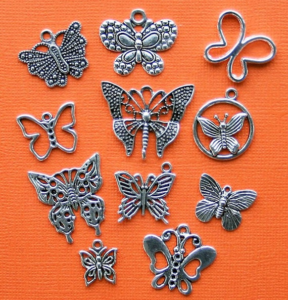 Butterfly Charm Collection Antique  Silver Tone - 11 Different Charms - COL021