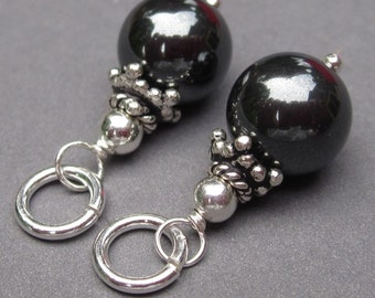 Hematite with Bali Sterling Silver Bead Caps Wire Wrapped Dangles Two Charms Interchangeable Earrings