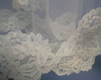 Circular Cut Wedding Veil with Alencon Lace Trim Custom Length