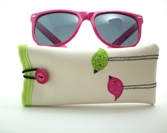 Eyeglass case in cream with pink and lime green birds