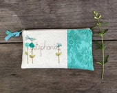 Cottage Style Wedding Clutch, Mint Blue Floral, Personalized Gift for Bridesmaid, Gift for Her MADE TO ORDER by MamaBleuDesigns