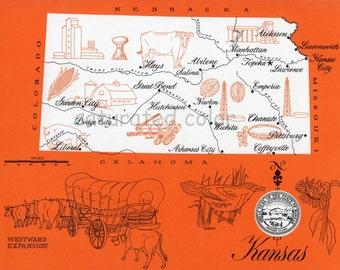 Kansas Map - ORIGINAL Vintage 1960s Picture Map - Fun Retro Colors - Chanute Hays Abilene Manhattan Topeka Emporia Lawrence Souvenir