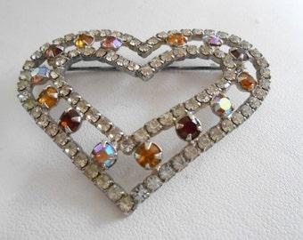 Vintage brooch, heart brooch, AB crystal brooch, 1950s retro brooch, wedding brooch, elegant brooch, vintage jewelry