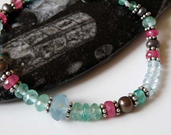 Aquamarine Emerald Ruby gemstone bracelet Sterling Silver macrame - faceted - Pearl - elegant Tribal bracelet - Ethnic jewelry