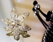 Charming Silver and Cream Vintage Flower Brooch 1 inch x 1 inch. With diamante bead detail.