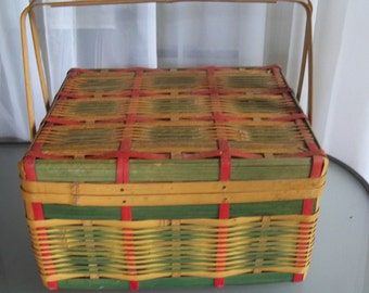 Red, Green and Yellow Picnic Basket Made in Japan, Vintage Storage, Picnic Lunch, Woven Basket