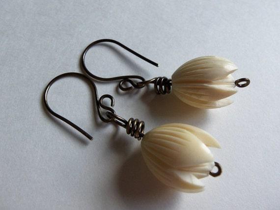 Carved Bone Pikake Flower Earrings