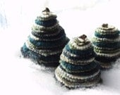 Christmas Tree Trio made from Felted Wool Sweaters, Shades of Green, Silver Bell Top