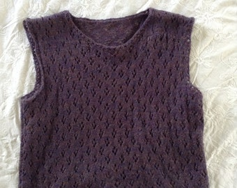 Plum, Variegated, Lace, Knitted  Crop Tank
