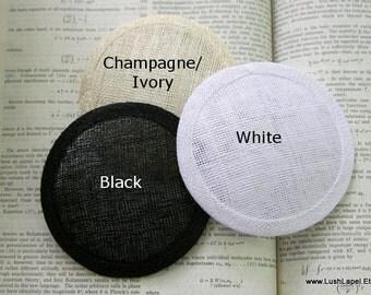 Round Sinamay Fascinator Hat Base-  Ivory, Black, Navy, Latte, Gunmetal Gray, Chocolate