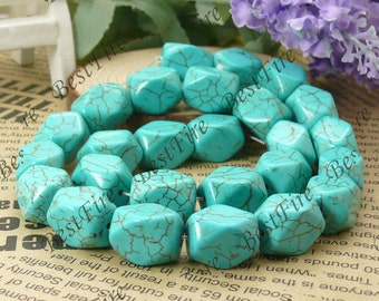 12x16mm Nugget Blue Turquoise Loose Beads strand,gemstone beads,loose turquoise beads 16inch