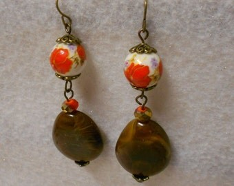 Handmade Earrings, OOAK Earrings, Brown Earrings, Bronze Earrings, Red Floral Earrings