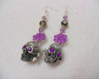 OOAK Handmade Skull Earrings, Halloween Earrings, Purple and Grey Earrings