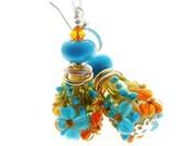 Orange Lampwork Earrings, Glass Bead Jewelry, Floral Dangle Earrings, Beadwork Earrings, Aqua Flower Earrings, Lampwork Jewelry