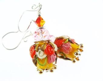 Floral Lampwork Earrings, Yellow Tulip Flower Earrings, Glass Bead Jewelry, Floral Beadwork Earrings, Glass Bead Earrings, Lampwork Jewelry