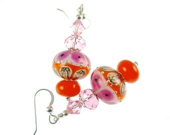 Lampwork Earrings, Glass Bead Jewelry, Pink Orange Earrings, Glass Bead Earrings, Beadwork Earrings, Lampwork Jewelry, Dangle Earrings
