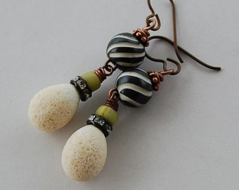 Black and White Earrings,  Crusty Lampwork,  Carved Bone and Hypoallergenic Niobium Ear Wire Earrings