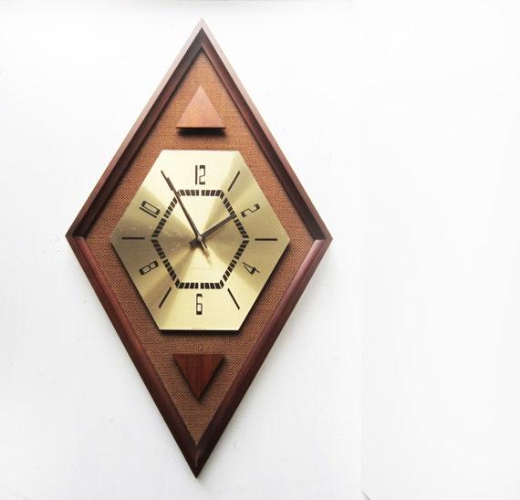 Large Vintage Westclox Wall Clock Diamond Shaped Geometric