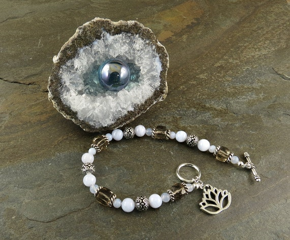 Depression & Anxiety Bracelet with Blue Chalcedony, Blue Lace Agate and Smoky Quartz