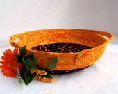 Orange Fabric Basket, Handmade Apricot Candy Bowl, Halloween Party Bowl, Bread BAsket, Napkin Holder