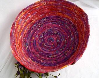 Raspberry Fiber Basket, Handmade Coiled Fabric Basket, Pink Berry Batik Cat Bed, Dog Bed, Boho Fruit Smoothie Pet Bed