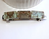 Mustard and Aqua Tile French Hair Barrette Clip