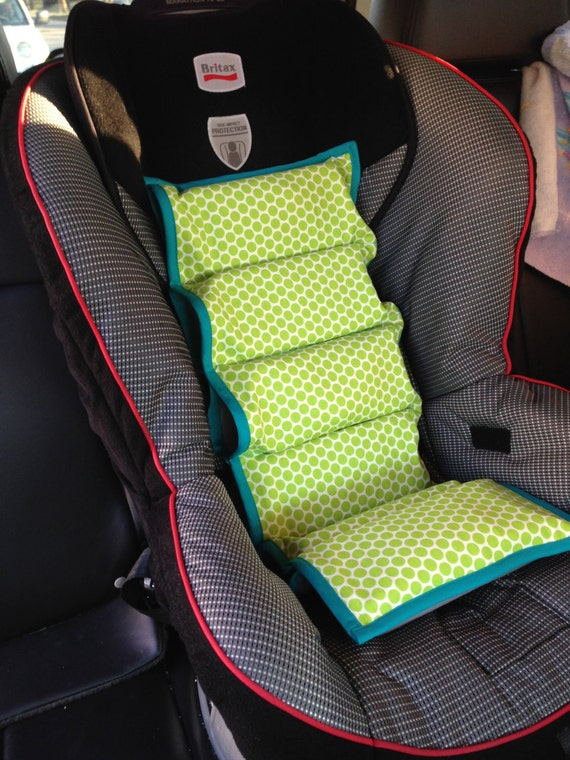 green polka dot car seat cooler teal trim by simplysassysweet. Black Bedroom Furniture Sets. Home Design Ideas