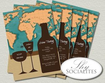 World Map Wine Invitation   Wine Walk, Wine Tasting, Dinner Party, Travel, Vino, Wine Bottle, Wine Glass, Map Invitation   INSTANT DOWNLOAD